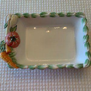 Rectangular Serving Dish w/Vegetable Design